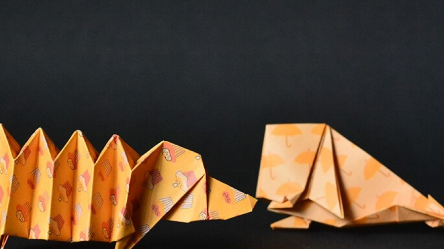 Origami Dachshund Dog by Perro Salchicha and origami whale