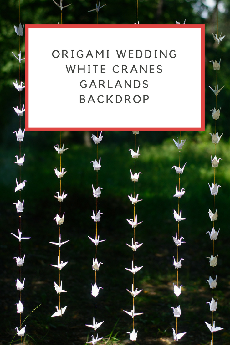 My Origami Wedding White Cranes Garlands Backdrop
