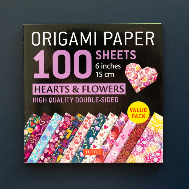 hearts and flowers origami paper